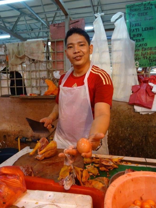 An egg anyone... Farmers market in Jalan Raja Alang, KL, Malaysia. Food tour in Kuala Lumpur, Malaysia