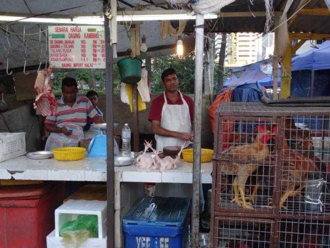 Fresh food at Farmers market in Jalan Raja Alang, KL, Malaysia. Food tour in Kuala Lumpur, Malaysia