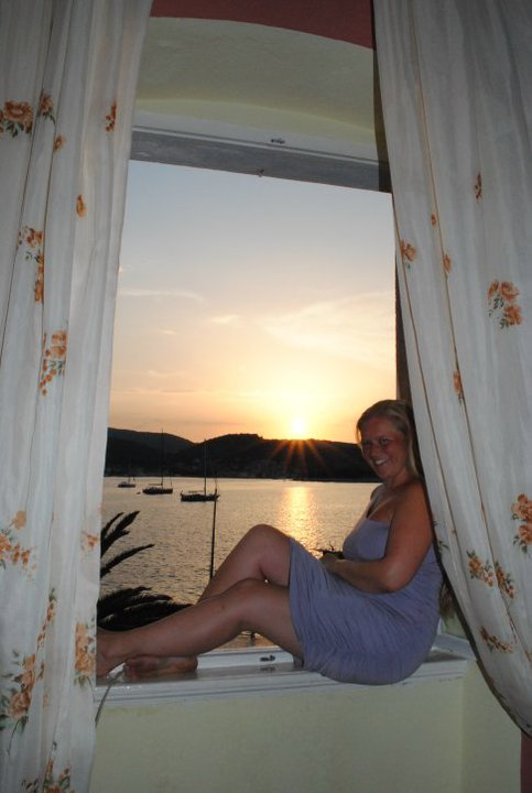 Fantastic sunset view from our room at Vis, Croatia