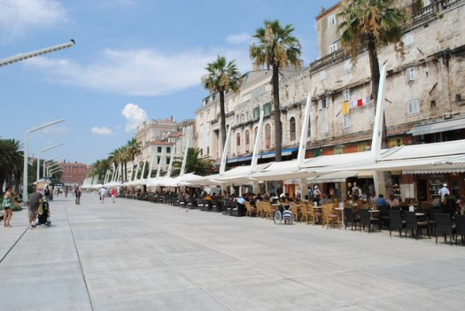 The harbor front in Split, Croatia