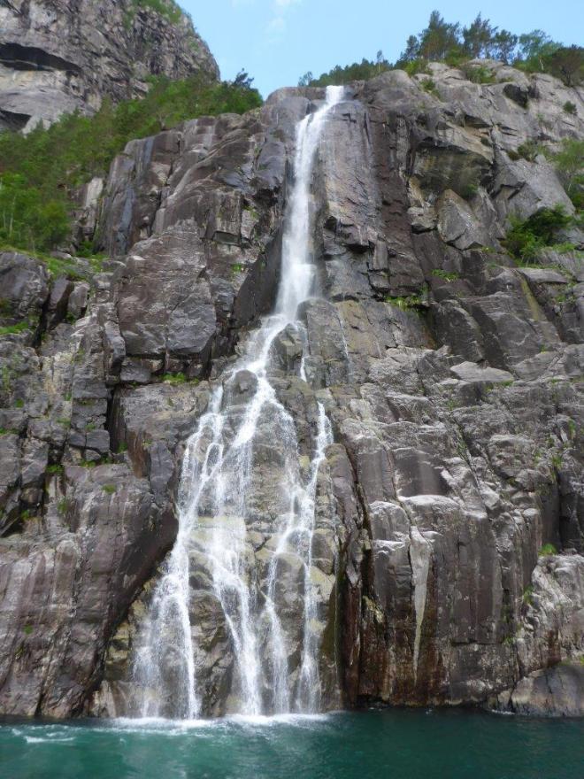 Hengjanefossen waterfall in Lysefjorden