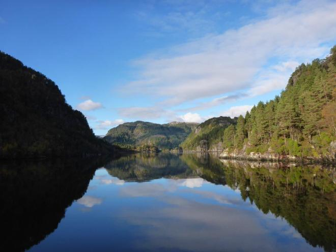 Reflecting water. Fjordcruise to Mostraumen outside Bergen. Norway