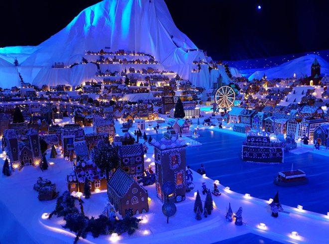 Vågen in Bergen in the worlds largest Gingerbread Town in Bergen, Norway