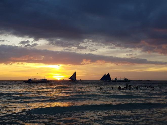 Beautiful sunset at Boracay island, The Philippines.