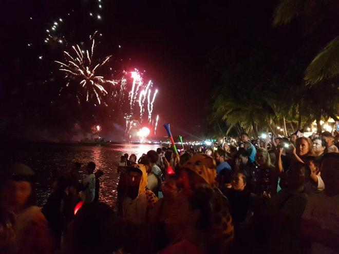 Down at the beach watching the fireworks at New Year's Eve in Boracay Island, The Philippines