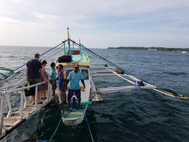 The banka boat going to Boracay island. The Philippines.