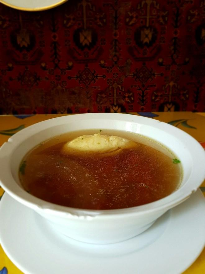 Broth soup. Taste Hungary food tour. Budapest, Hungary.