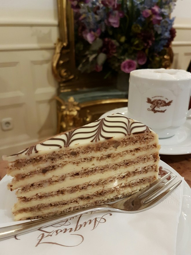 Cake for breakfast at Auguszt pastry shop. Taste Hungary food tour. Budapest, Hungary.