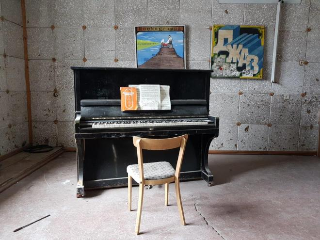 One of the many instruments left in the cultural center. Pyramiden. Svalbard. Spitsbergen. Norway