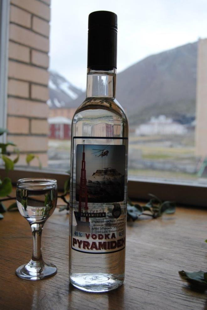 The local vodka in the bar. Pyramiden. Svalbard. Spitsbergen. Norway