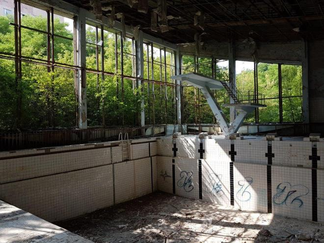 The swimming pool. Pripyat, Chernobyl, Ukraine