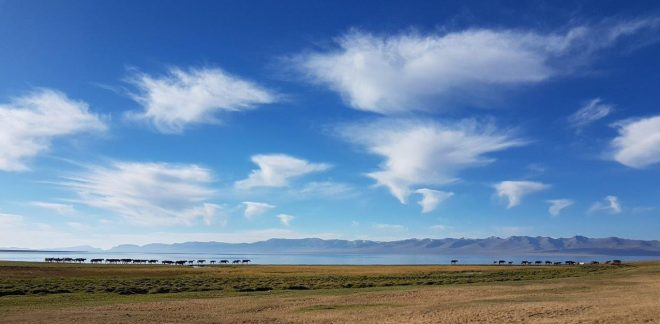 Morning mood by Song Kul lake. Three day horse-riding trip to Song Kul, Kyrgyzstan.