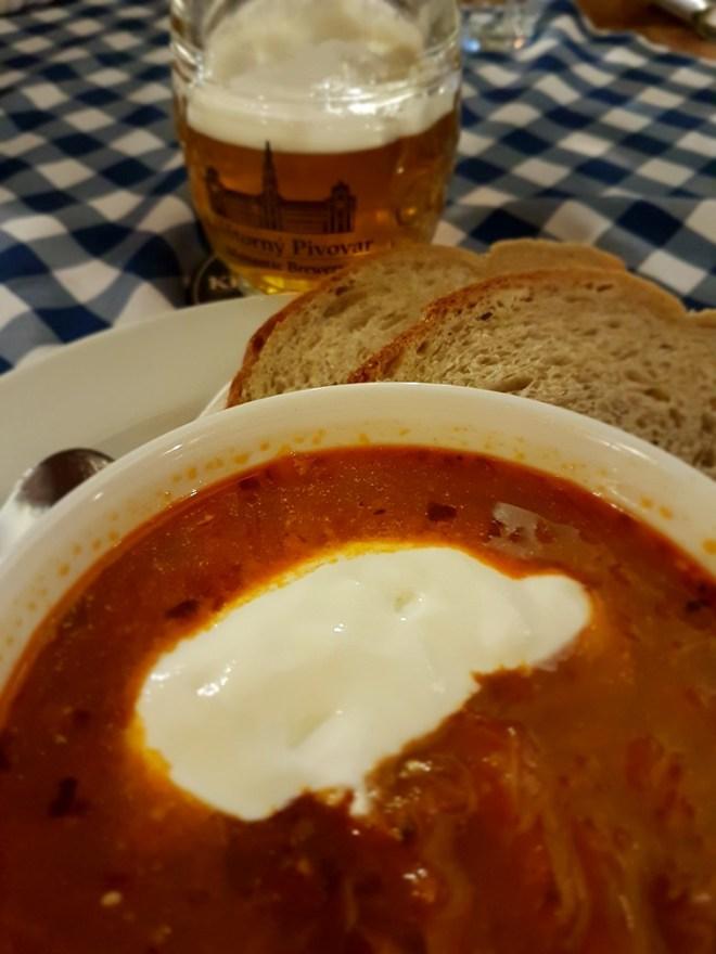 Kapustnica (sauerkraut soup) at Flagship Bratislavská reštauracia. Food tour in Bratislava, Slovakia.
