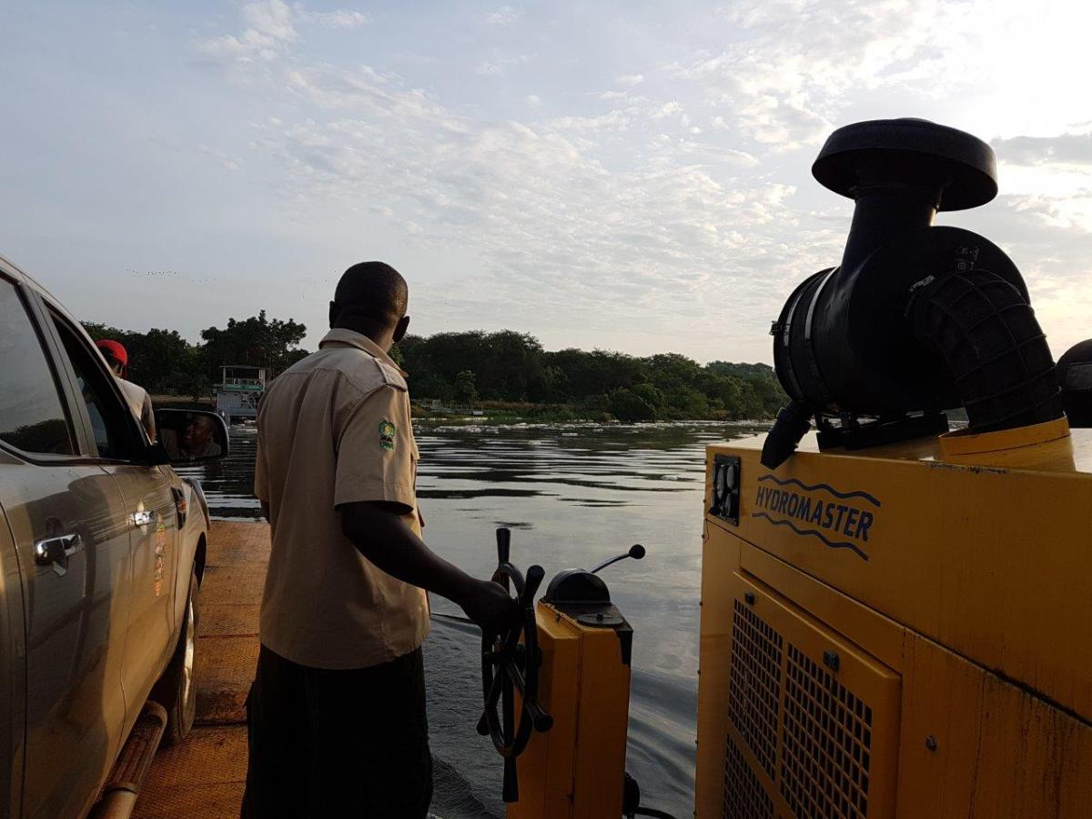 Relaxing ferry crossing. River Nile, Murchison Falls National Park in Uganda Africa