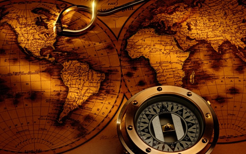 ~Large Gold Brown Map with Compass - Original - 2021 x 301