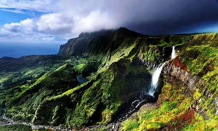 Flores Waterfall And Cliffs