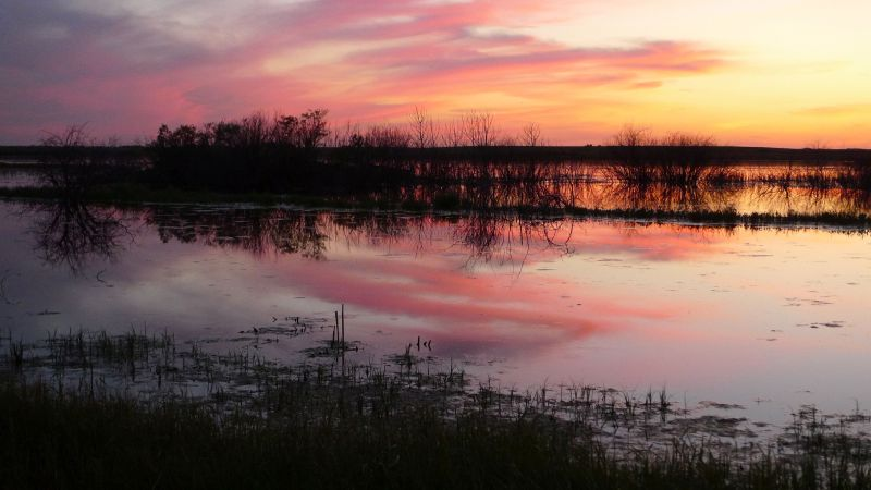 Prairie Sunset Over A Slough