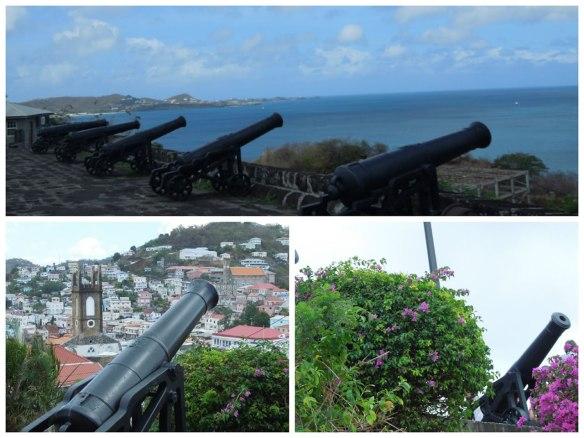 指向大海和内港湾的铁炮