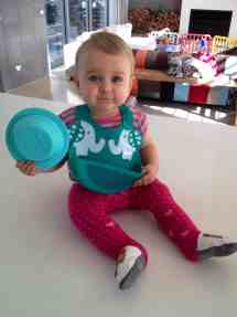 Modelling the silicone bib and bowl!