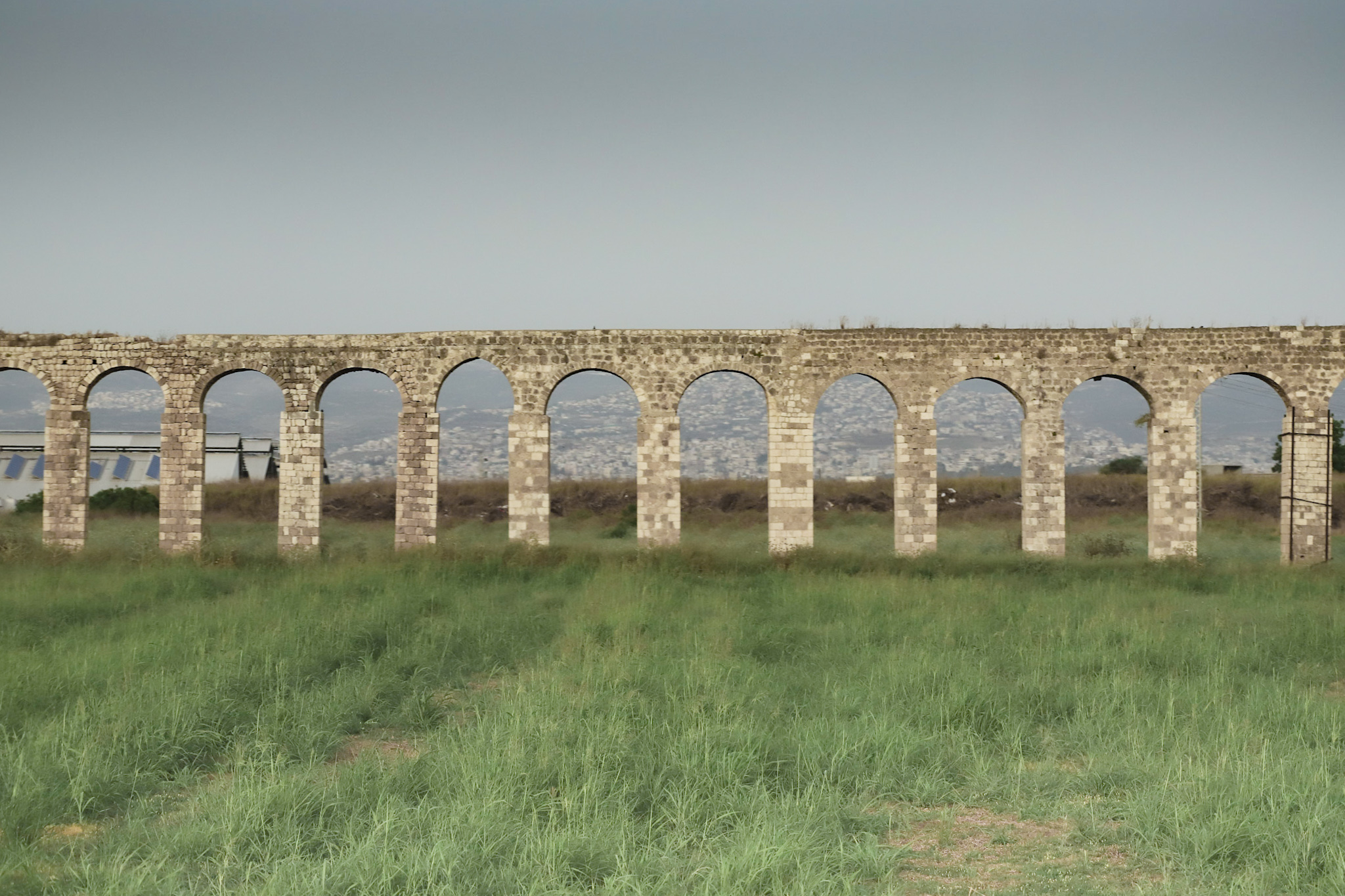 Remains of the ancient Roman aqueduct  in Israel