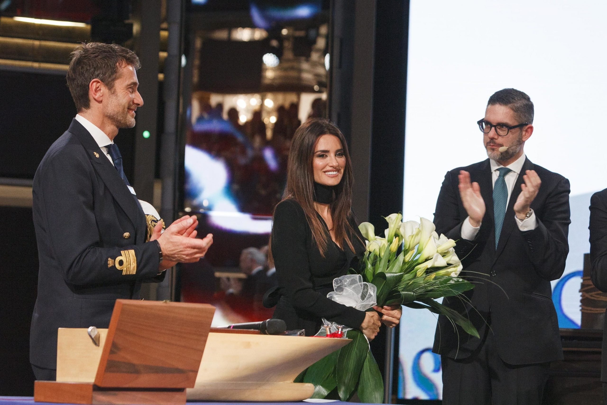 Penélope Cruz (center) serves as godmother for Costa Cruises' newest liquefied natural gas powered ship, Costa Smeralda, at the ship's naming ceremony in Savona.
