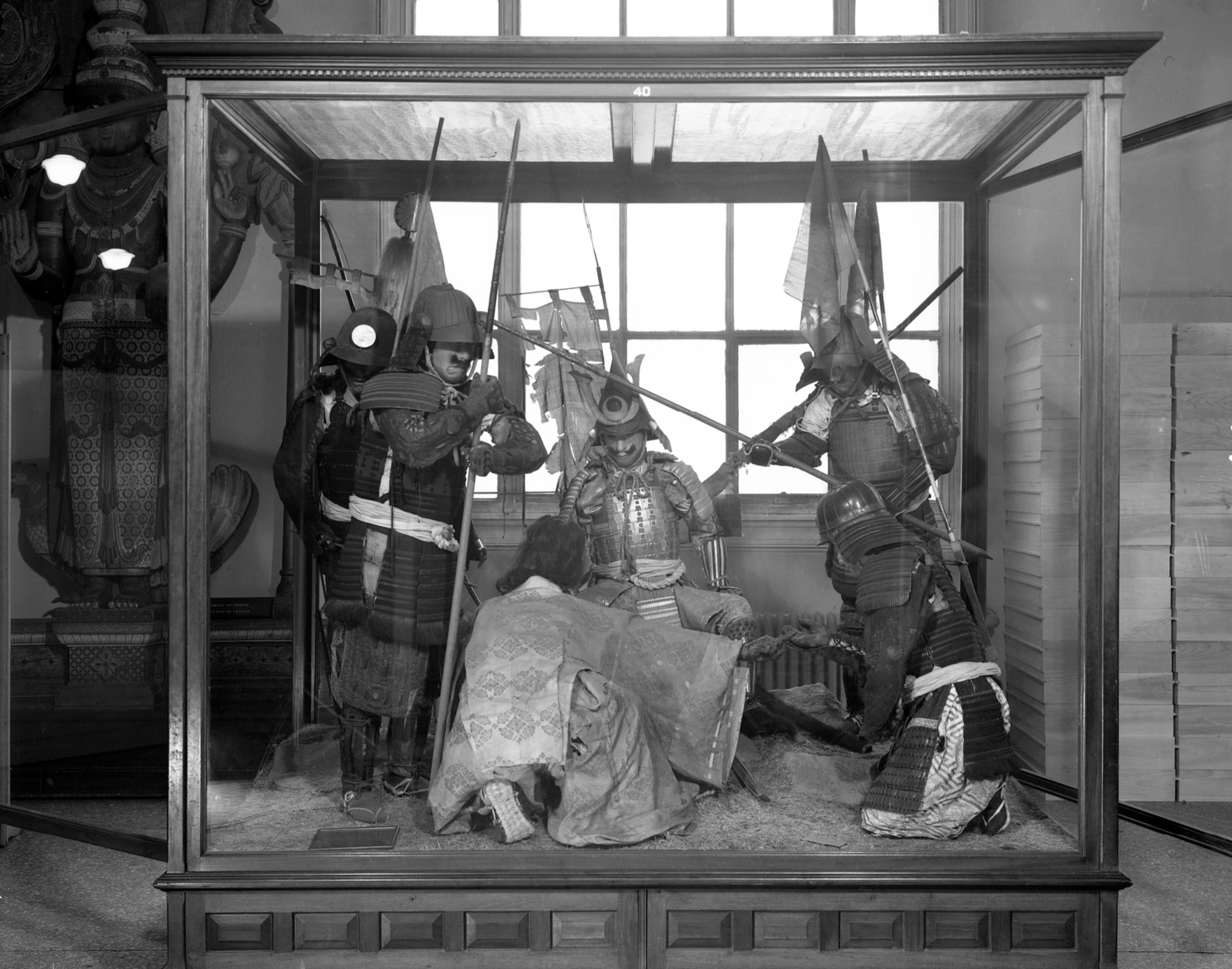 Group of 6 Japanese mannequins with armor, originally displayed at the World's Columbian Exposition, 1893