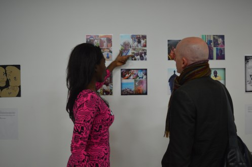 Explaining my work to Simon Hinde, course leader and Programme Director of Journalism