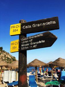 indicaciones sendero playa de la granadella