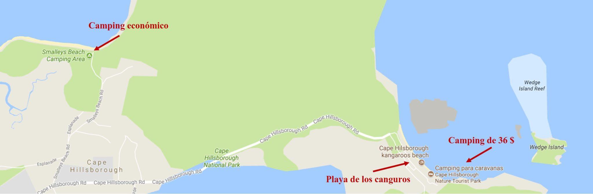 Mapa Cape Hillsborough Nature Tourist Park