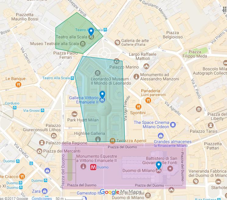 mapa de milan en un dia