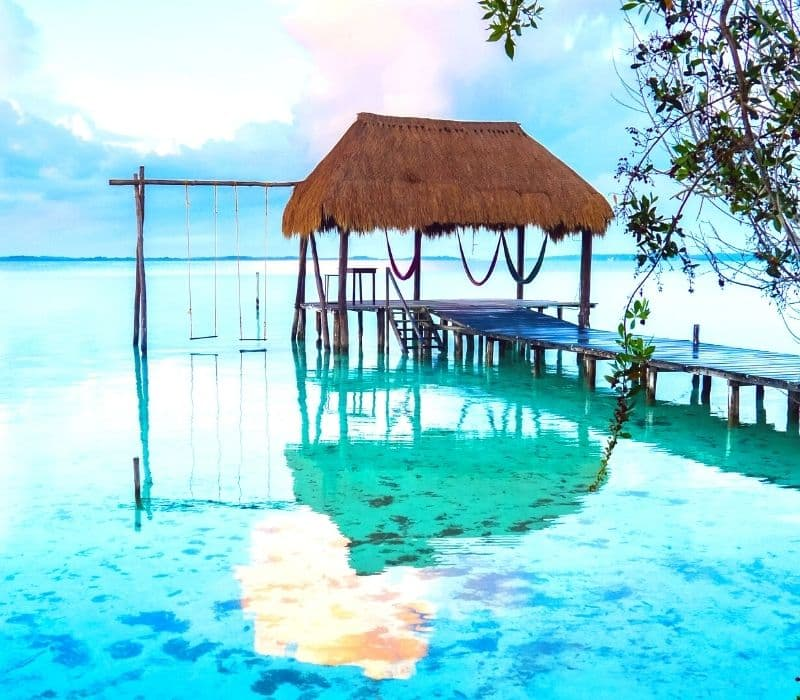 blue water and swing in Bacalar Lagoon