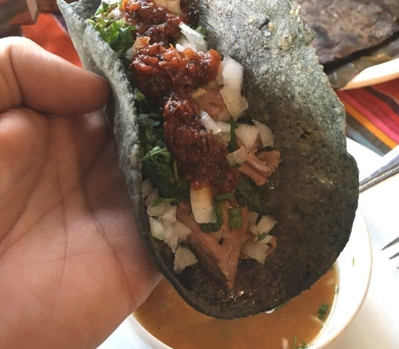 Meat tacos with blue corn tortillas