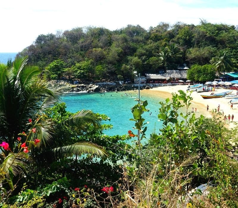 beautiful beach cove with huts and boats in the distance in puerto escondido oaxaca mexico - Traveling to Oaxaca