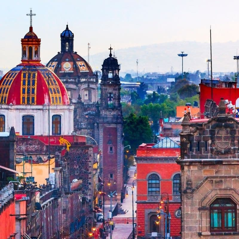 Colorful domes in churches of downtown Mexico City