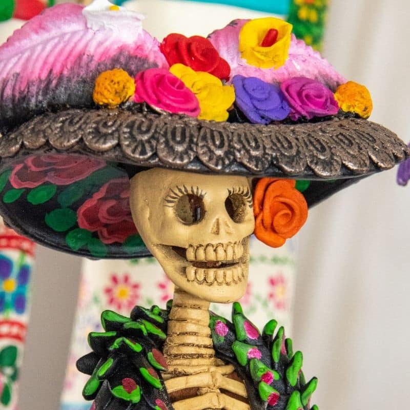La Catrina Day of the Dead skeletal woman statue