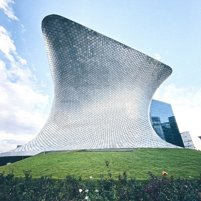 Mirrored Soumaya Museum building in Mexico City