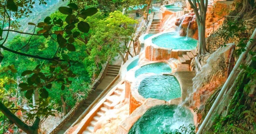 bright blue water in natural hot spring pools - Visit Las Grutas Tolantongo