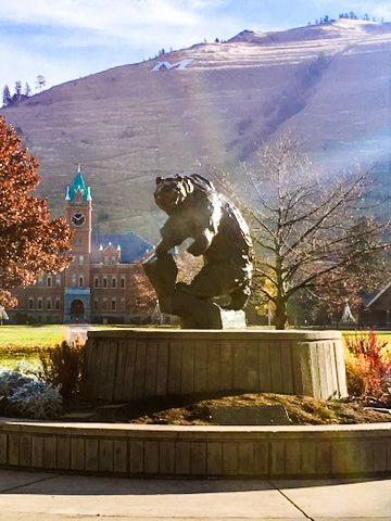 Griz Statue in Missoula by the University of Montana