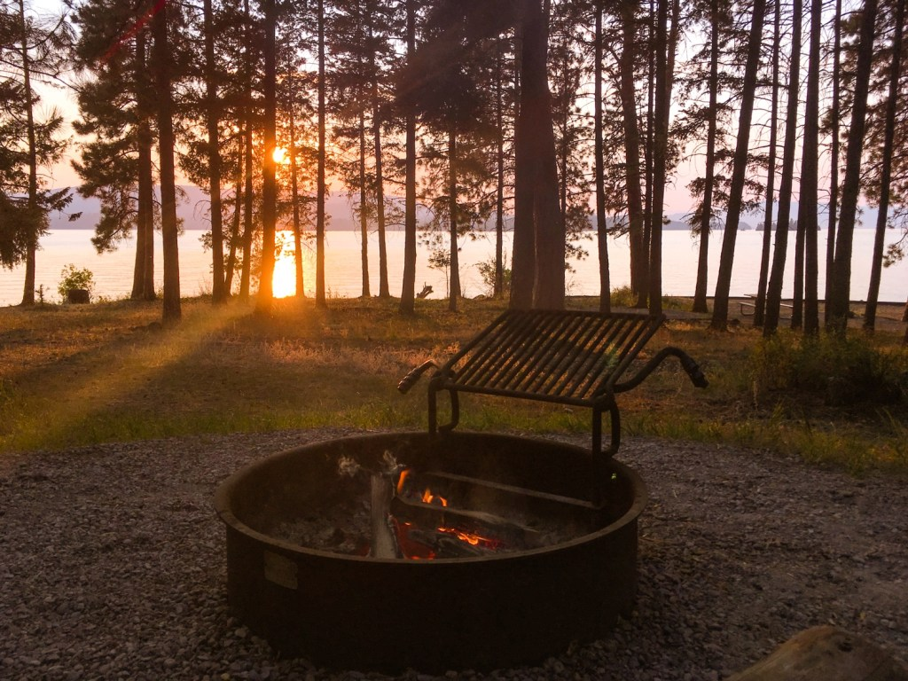Campfires and Sunset at Flathead Lake in Montana