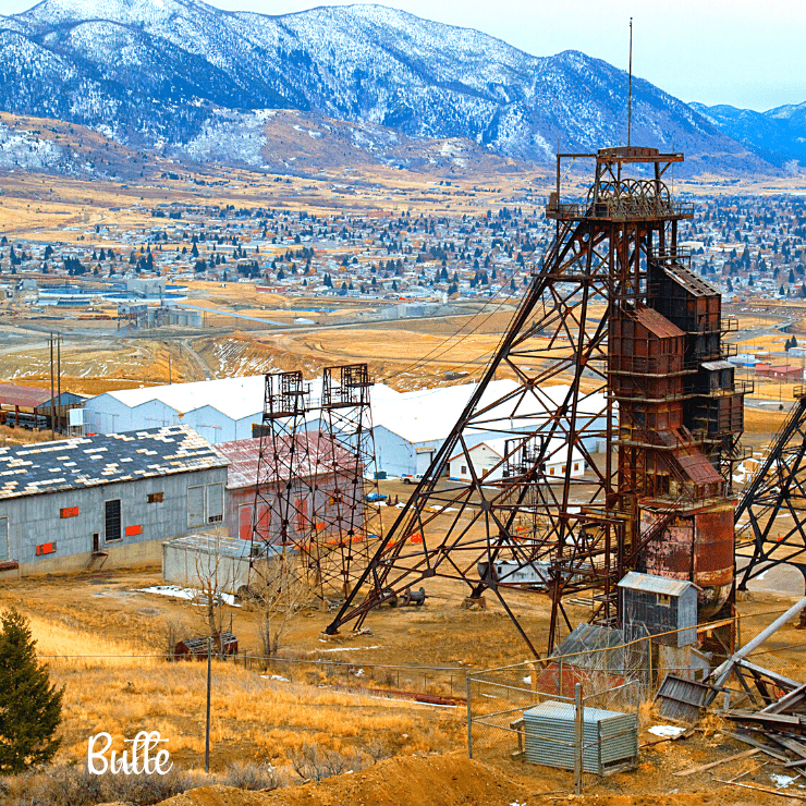 Old mining equipment in Butte, Montana.