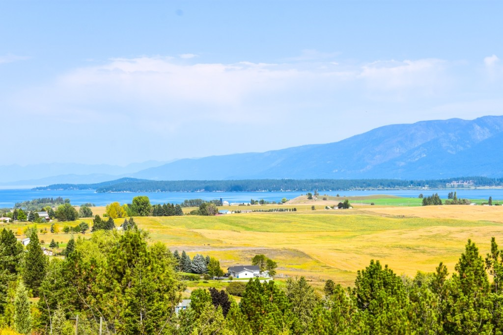 Flathead Lake seen from the south near Polson in Montana.