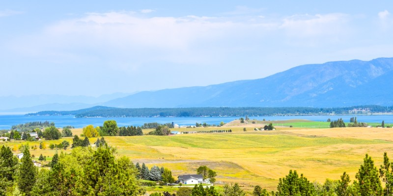 Flathead Lake in Montana seen from the south.