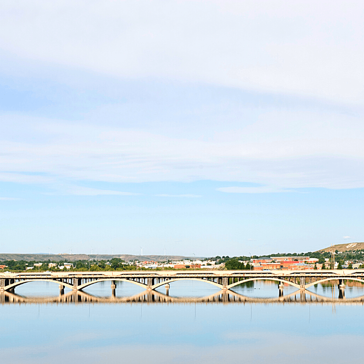 View of Tenth Street Bridge in Great Falls, Montana seen from the Missouri River.