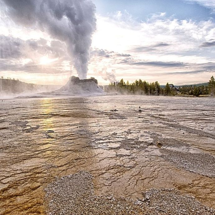 Castle Geyser that you can see along the Lower Loop Drive in Yellowstone National Park