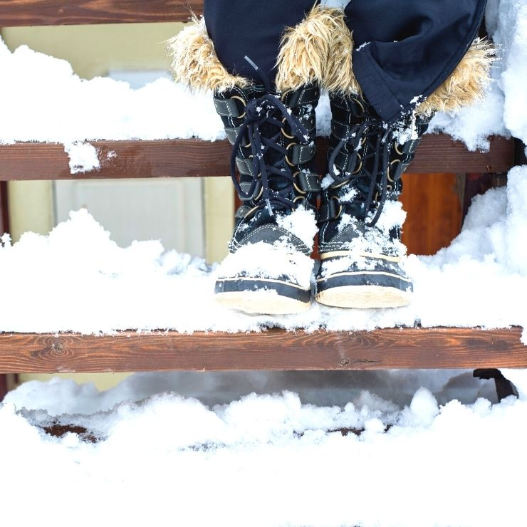 Pack warm snow boots for a ski trip to wear in the chalet and in town.