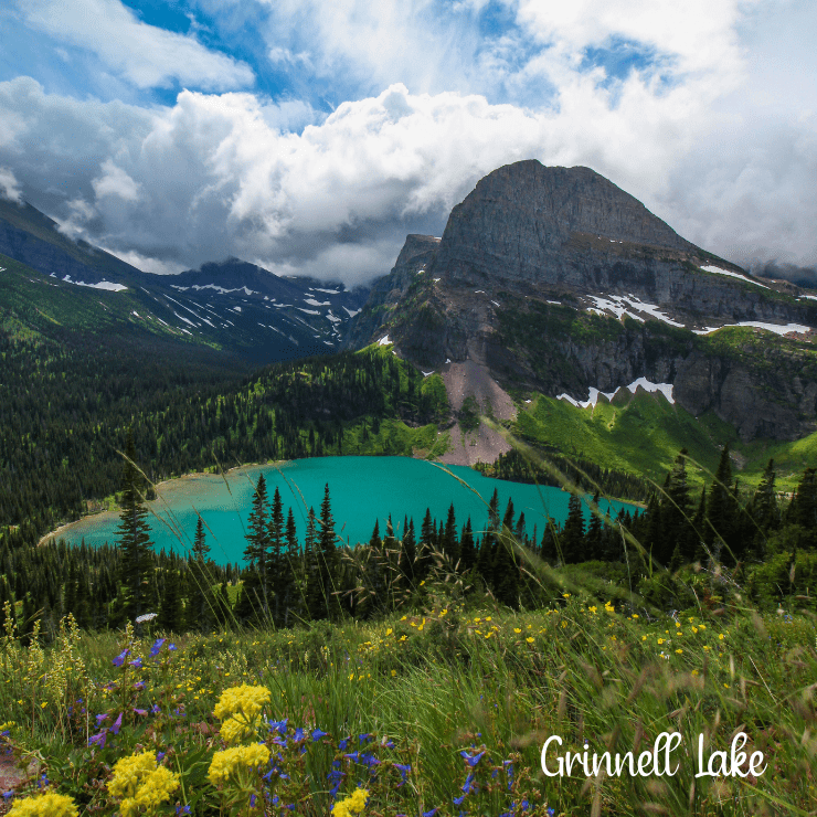 Beautiful Grinnell Lake in Glacier National Park is an easy hike for families with kids.