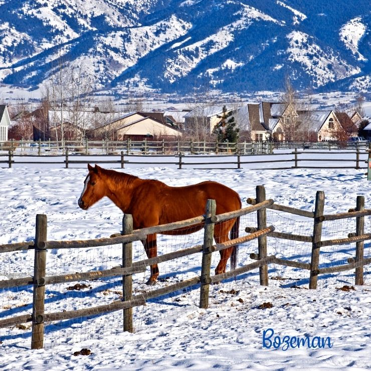 Bozeman on a sunny day in winter.