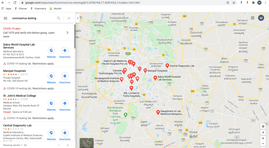 COVID Testing Centers Using Google Maps