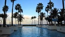 the main pool at dusk