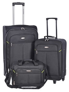 MILLENIUM 3 PIECE LUGGAGE SET - CHECKED & CARRY ON SUITCASES WITH TOTE BAG BLACK C0604S3BLK